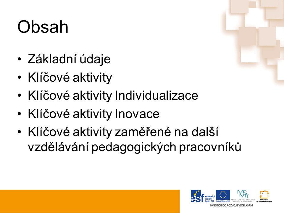 Obsah Základní údaje Klíčové aktivity Klíčové aktivity Individualizace Klíčové aktivity Inovace Klíčové aktivity zaměřené na další vzdělávání pedagogických pracovníků