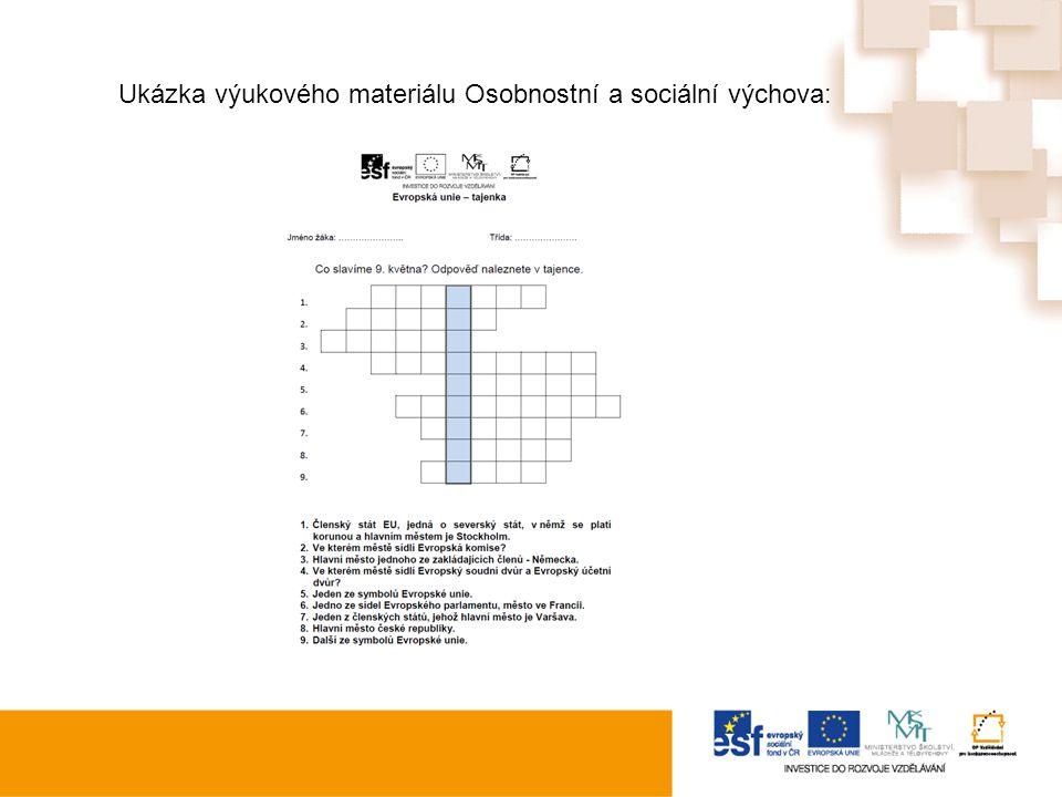 Ukázka výukového materiálu: Ukázka výukového materiálu Osobnostní a sociální výchova: