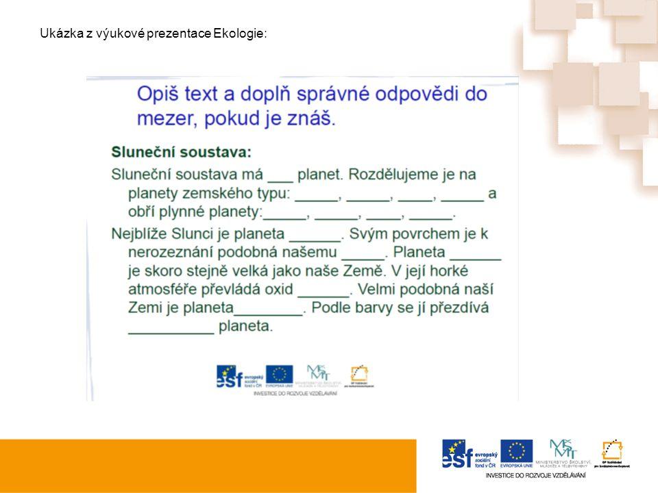 Ukázka z výukové prezentace Ekologie: