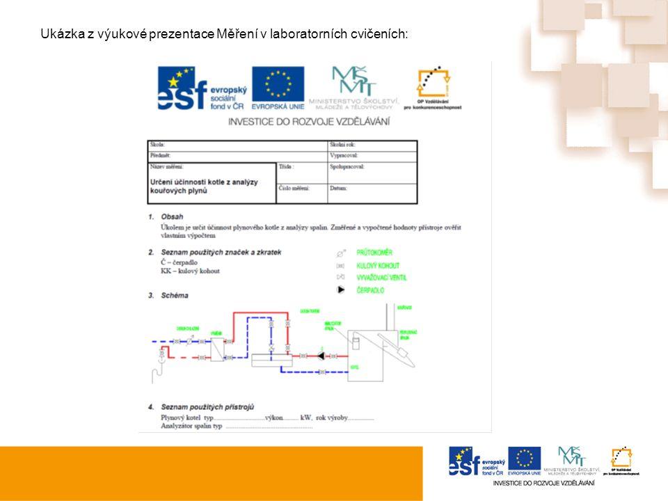 Ukázka z výukové prezentace Měření v laboratorních cvičeních: