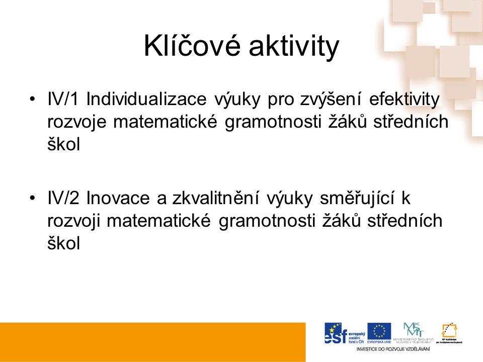 Klíčové aktivity IV/1 Individualizace výuky pro zvýšení efektivity rozvoje matematické gramotnosti žáků středních škol IV/2 Inovace a zkvalitnění výuky směřující k rozvoji matematické gramotnosti žáků středních škol