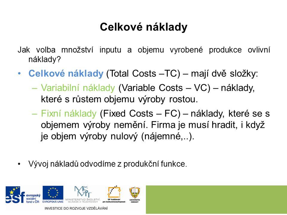 Celkové náklady Jak volba množství inputu a objemu vyrobené produkce ovlivní náklady.