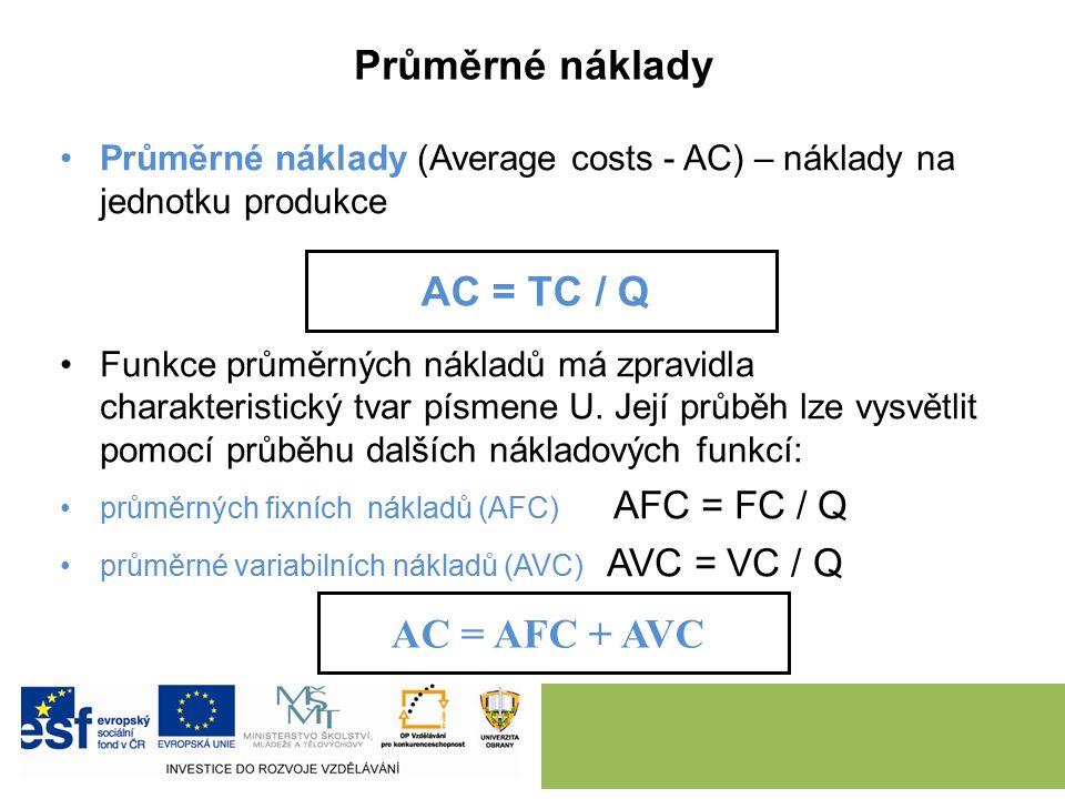 Průměrné náklady Průměrné náklady (Average costs - AC) – náklady na jednotku produkce Funkce průměrných nákladů má zpravidla charakteristický tvar písmene U.