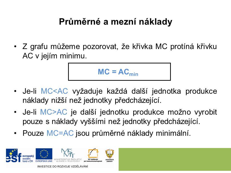 Průměrné a mezní náklady Z grafu můžeme pozorovat, že křivka MC protíná křivku AC v jejím minimu.