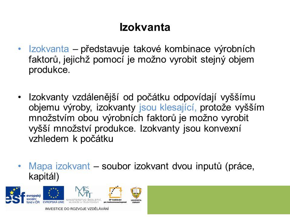 Izokvanta Izokvanta – představuje takové kombinace výrobních faktorů, jejichž pomocí je možno vyrobit stejný objem produkce.