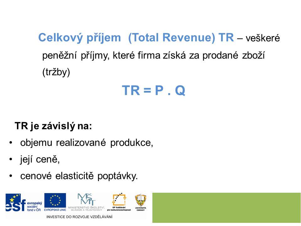 Celkový příjem (Total Revenue) TR – veškeré peněžní příjmy, které firma získá za prodané zboží (tržby) TR = P.