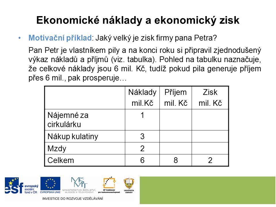 Ekonomické náklady a ekonomický zisk Motivační příklad: Jaký velký je zisk firmy pana Petra.