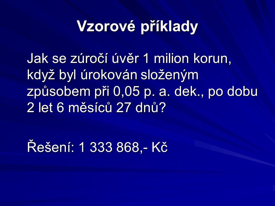 Vzorové příklady Jak se zúročí úvěr 1 milion korun, když byl úrokován složeným způsobem při 0,05 p.