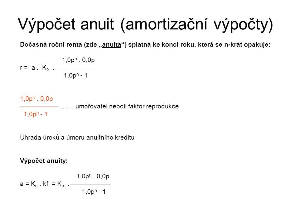 """Výpočet anuit (amortizační výpočty) Dočasná roční renta (zde """"anuita ) splatná ke konci roku, která se n-krát opakuje: 1,0p n."""