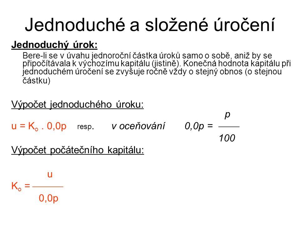 Jednoduché a složené úročení Součet všech jednoduchých úroků po n-letech: Σ u = K o.