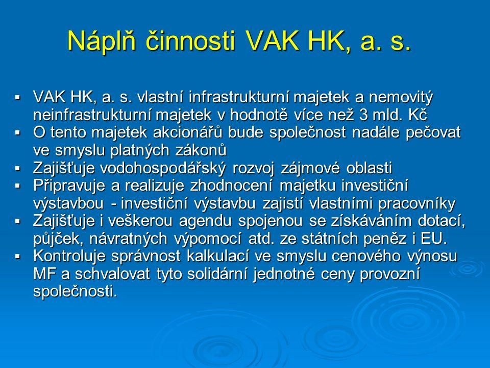 Náplň činnosti VAK HK, a. s.  VAK HK, a. s.