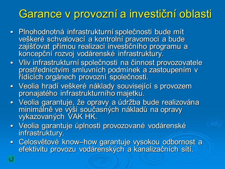 Garance v provozní a investiční oblasti  Plnohodnotná infrastrukturní společnosti bude mít veškeré schvalovací a kontrolní pravomoci a bude zajišťovat přímou realizaci investičního programu a koncepční rozvoj vodárenské infrastruktury.