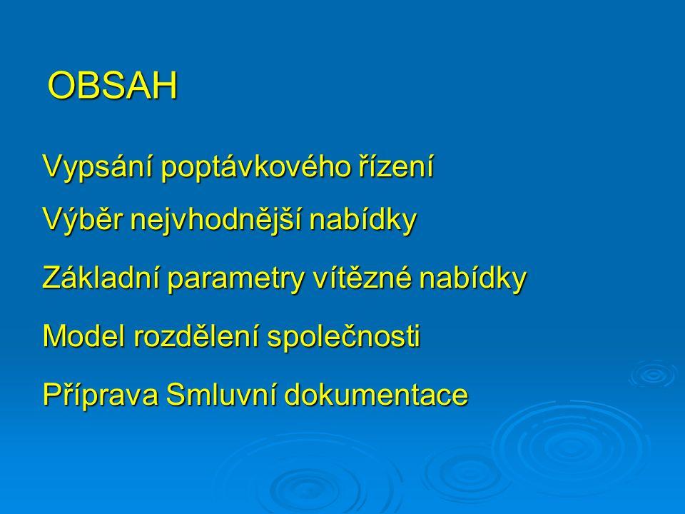 OBSAH Vypsání poptávkového řízení Výběr nejvhodnější nabídky Základní parametry vítězné nabídky Model rozdělení společnosti Příprava Smluvní dokumentace