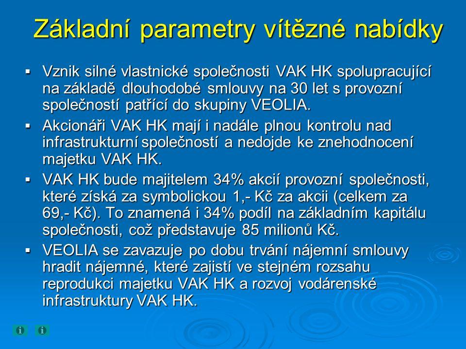 Základní parametry vítězné nabídky  Vznik silné vlastnické společnosti VAK HK spolupracující na základě dlouhodobé smlouvy na 30 let s provozní společností patřící do skupiny VEOLIA.
