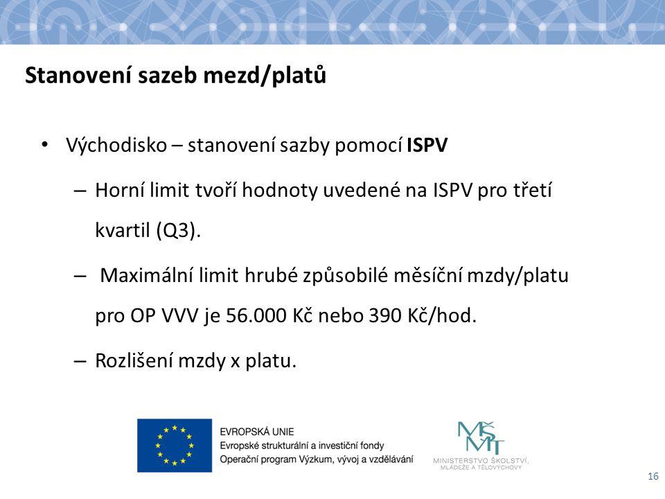 Stanovení sazeb mezd/platů Východisko – stanovení sazby pomocí ISPV – Horní limit tvoří hodnoty uvedené na ISPV pro třetí kvartil (Q3). – Maximální li