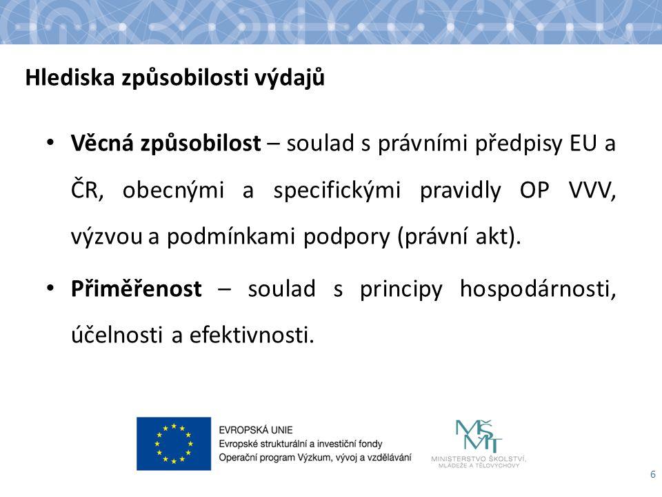 Hlediska způsobilosti výdajů Věcná způsobilost – soulad s právními předpisy EU a ČR, obecnými a specifickými pravidly OP VVV, výzvou a podmínkami podpory (právní akt).
