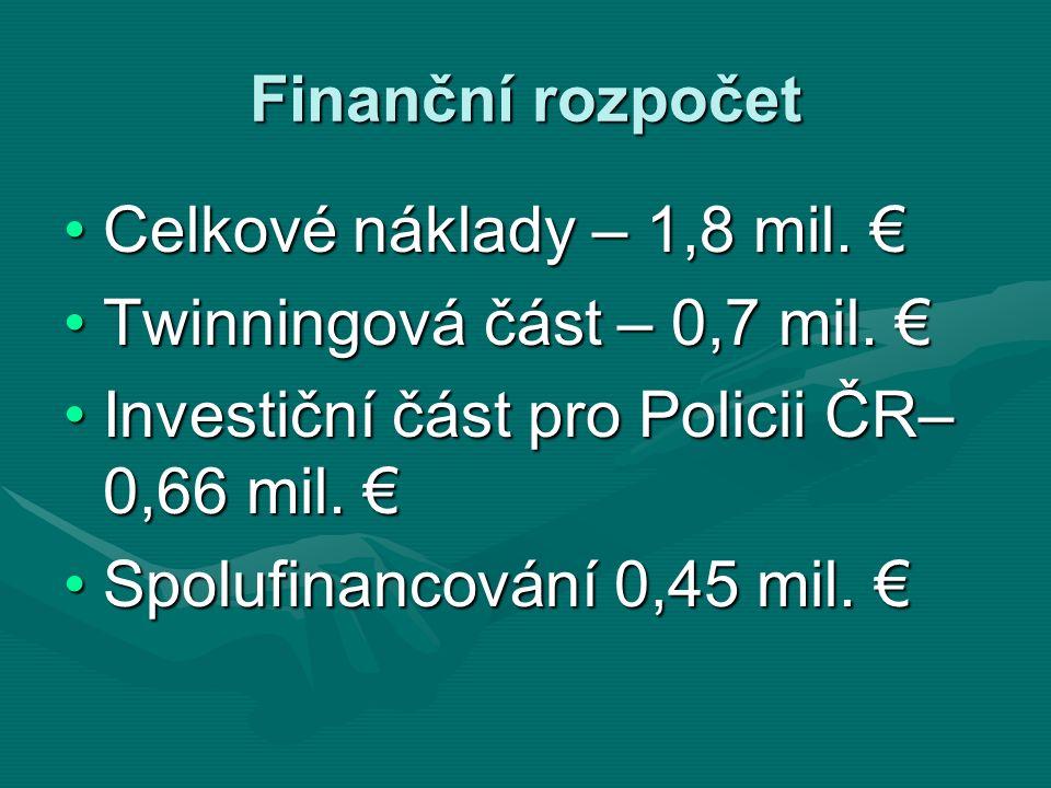 Finanční rozpočet Celkové náklady – 1,8 mil. €Celkové náklady – 1,8 mil. € Twinningová část – 0,7 mil. €Twinningová část – 0,7 mil. € Investiční část