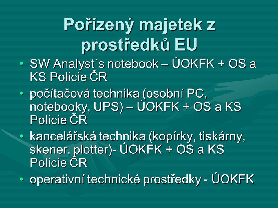 Pořízený majetek z prostředků EU SW Analyst´s notebook – ÚOKFK + OS a KS Policie ČRSW Analyst´s notebook – ÚOKFK + OS a KS Policie ČR počítačová techn
