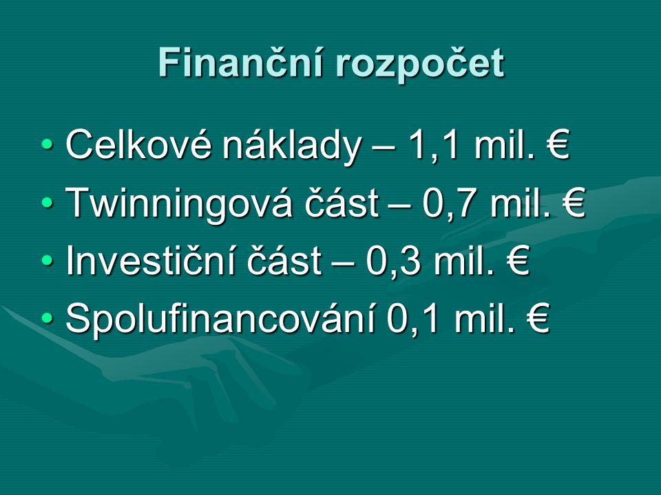 Finanční rozpočet Celkové náklady – 1,1 mil. €Celkové náklady – 1,1 mil. € Twinningová část – 0,7 mil. €Twinningová část – 0,7 mil. € Investiční část