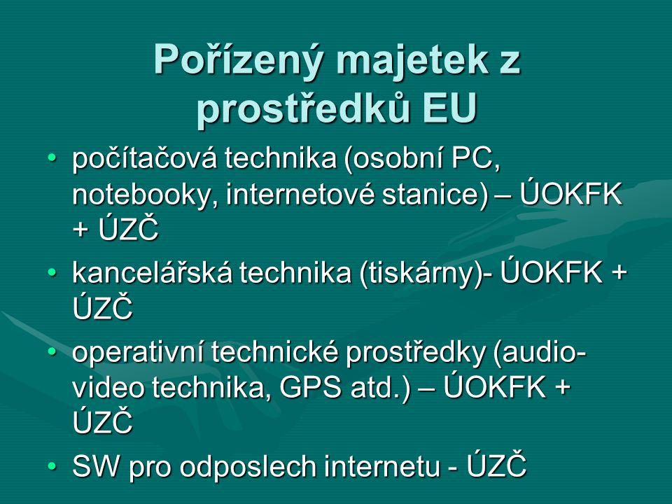 Pořízený majetek z prostředků EU počítačová technika (osobní PC, notebooky, internetové stanice) – ÚOKFK + ÚZČpočítačová technika (osobní PC, notebooky, internetové stanice) – ÚOKFK + ÚZČ kancelářská technika (tiskárny)- ÚOKFK + ÚZČkancelářská technika (tiskárny)- ÚOKFK + ÚZČ operativní technické prostředky (audio- video technika, GPS atd.) – ÚOKFK + ÚZČoperativní technické prostředky (audio- video technika, GPS atd.) – ÚOKFK + ÚZČ SW pro odposlech internetu - ÚZČSW pro odposlech internetu - ÚZČ