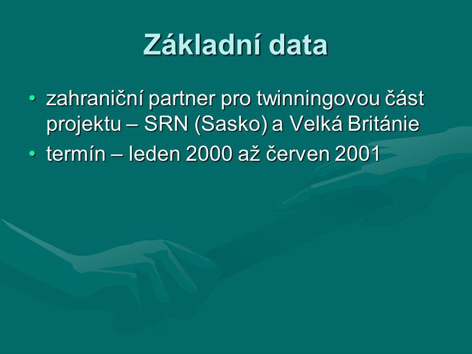 Základní data zahraniční partner pro twinningovou část projektu – SRN (Sasko) a Velká Britániezahraniční partner pro twinningovou část projektu – SRN (Sasko) a Velká Británie termín – leden 2000 až červen 2001termín – leden 2000 až červen 2001