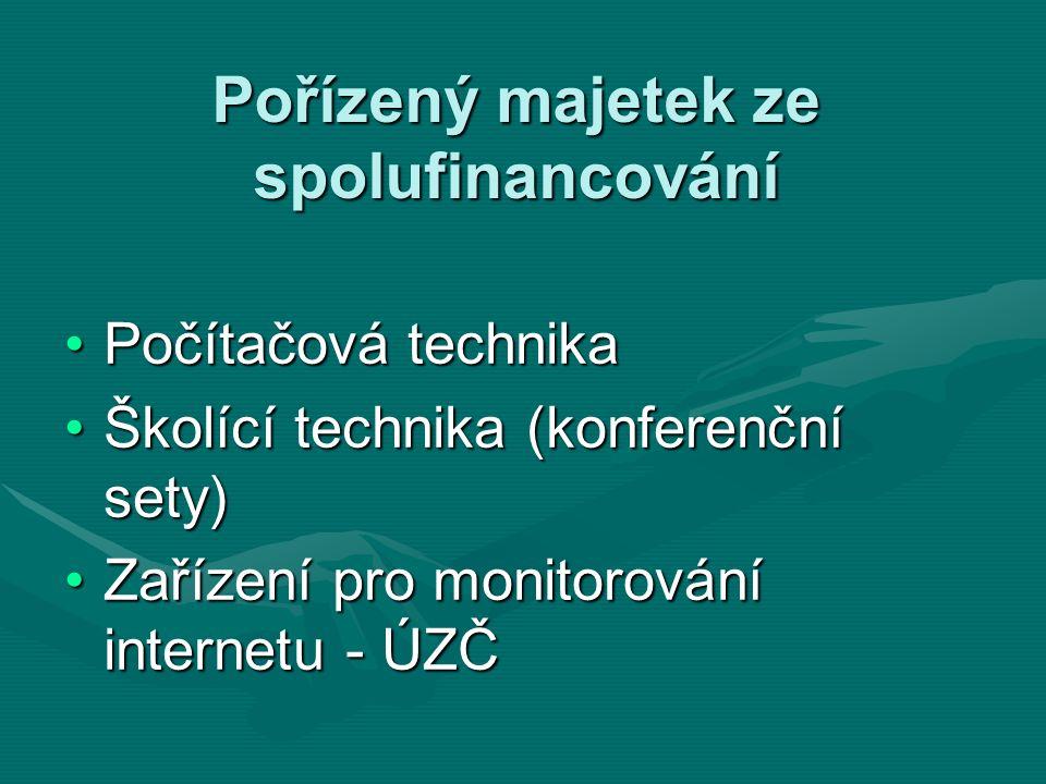 Pořízený majetek ze spolufinancování Počítačová technikaPočítačová technika Školící technika (konferenční sety)Školící technika (konferenční sety) Zařízení pro monitorování internetu - ÚZČZařízení pro monitorování internetu - ÚZČ