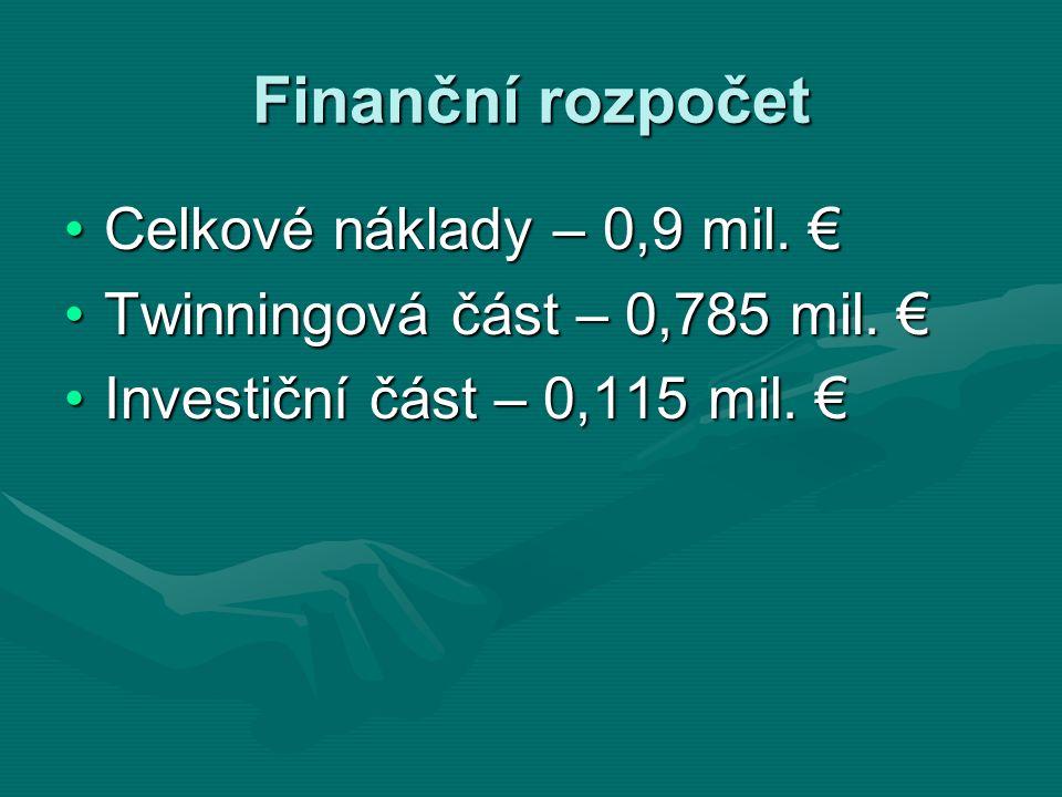 Finanční rozpočet Celkové náklady – 0,9 mil. €Celkové náklady – 0,9 mil. € Twinningová část – 0,785 mil. €Twinningová část – 0,785 mil. € Investiční č