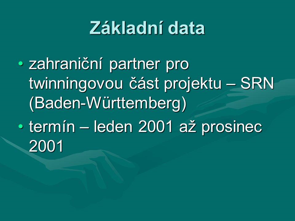 Základní data zahraniční partner pro twinningovou část projektu – SRN (Baden-Württemberg)zahraniční partner pro twinningovou část projektu – SRN (Baden-Württemberg) termín – leden 2001 až prosinec 2001termín – leden 2001 až prosinec 2001