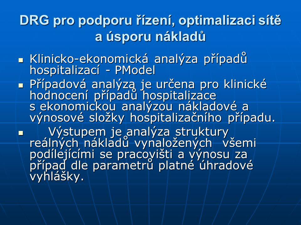 DRG pro podporu řízení, optimalizaci sítě a úsporu nákladů Klinicko-ekonomická analýza případů hospitalizací - PModel Klinicko-ekonomická analýza případů hospitalizací - PModel Případová analýza je určena pro klinické hodnocení případů hospitalizace s ekonomickou analýzou nákladové a výnosové složky hospitalizačního případu.