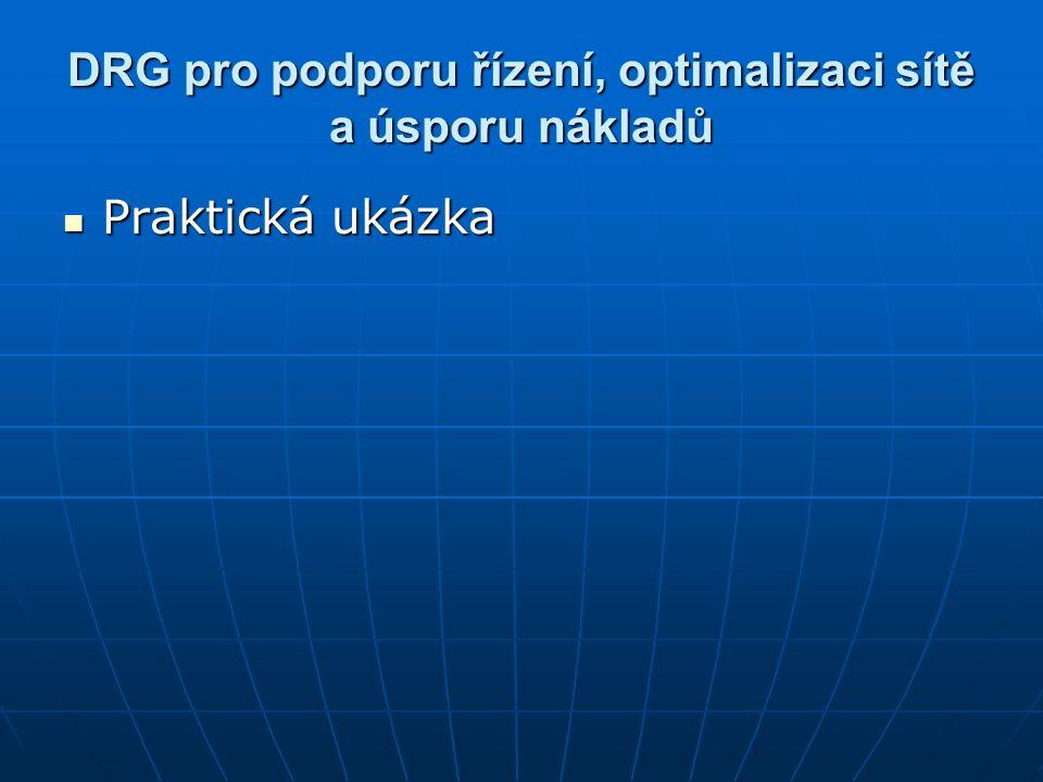 DRG pro podporu řízení, optimalizaci sítě a úsporu nákladů Praktická ukázka Praktická ukázka