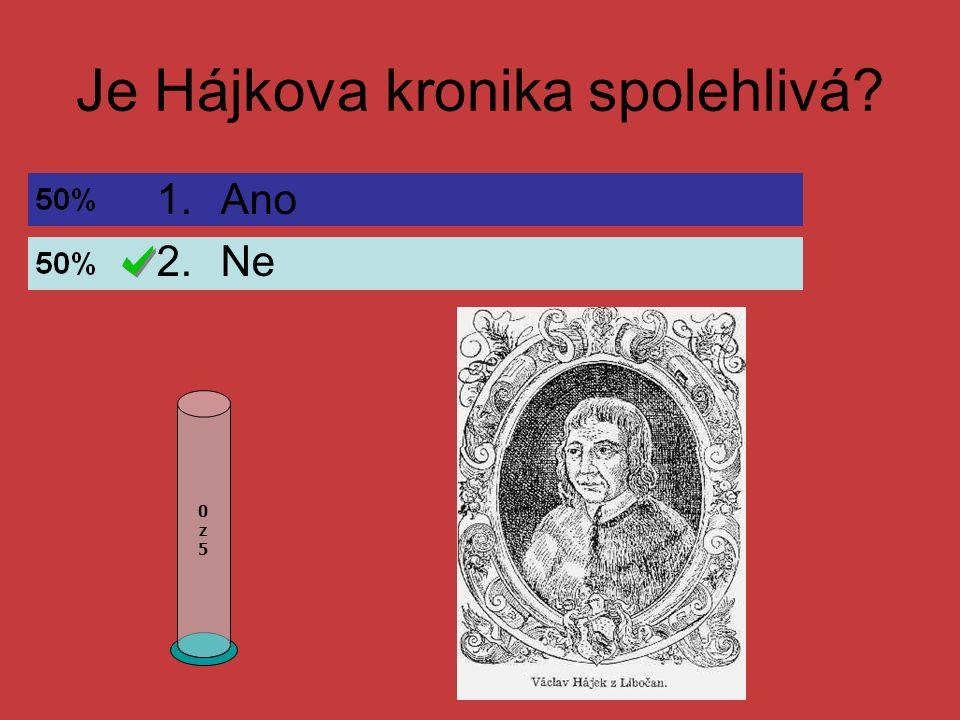 Jméno českého kronikáře, autora Kroniky české: 0z50z5 1.Václav Hájek z Libočan 2.Jan Amos Komenský 3.Dalimil