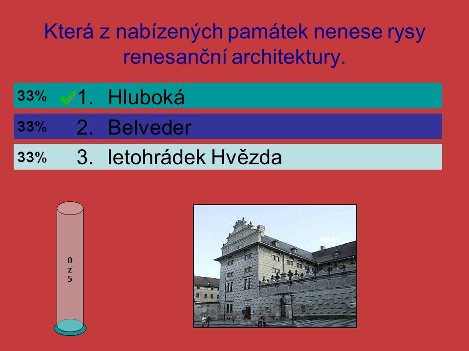Která z nabízených památek nenese rysy renesanční architektury.
