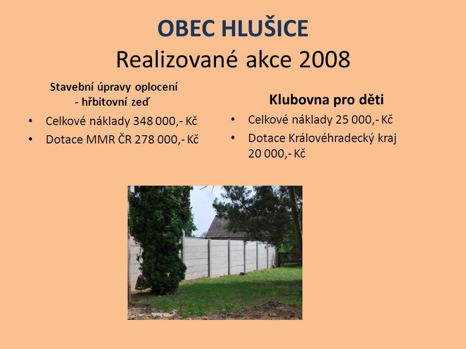 OBEC HLUŠICE Realizované akce 2008 Stavební úpravy oplocení - hřbitovní zeď Celkové náklady 348 000,- Kč Dotace MMR ČR 278 000,- Kč Klubovna pro děti