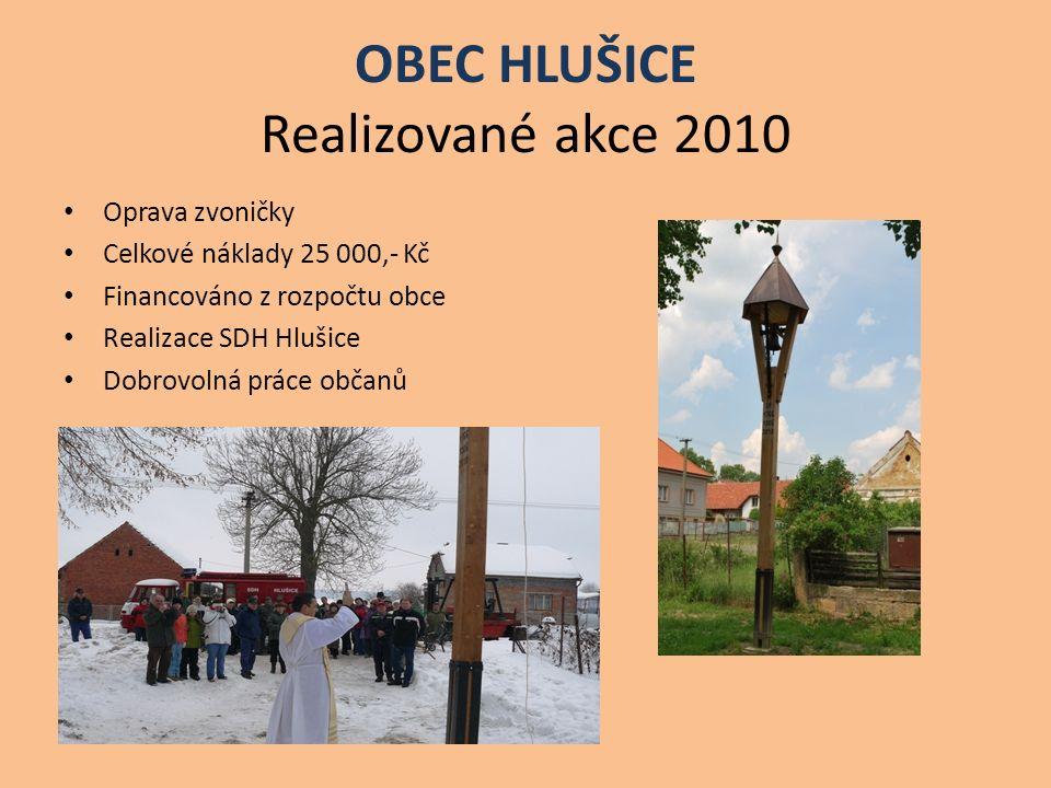 OBEC HLUŠICE Realizované akce 2010 Oprava zvoničky Celkové náklady 25 000,- Kč Financováno z rozpočtu obce Realizace SDH Hlušice Dobrovolná práce obča