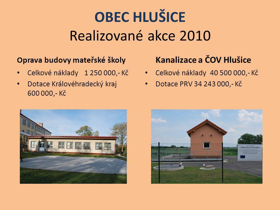 OBEC HLUŠICE Realizované akce 2010 Oprava budovy mateřské školy Celkové náklady 1 250 000,- Kč Dotace Královéhradecký kraj 600 000,- Kč Kanalizace a Č