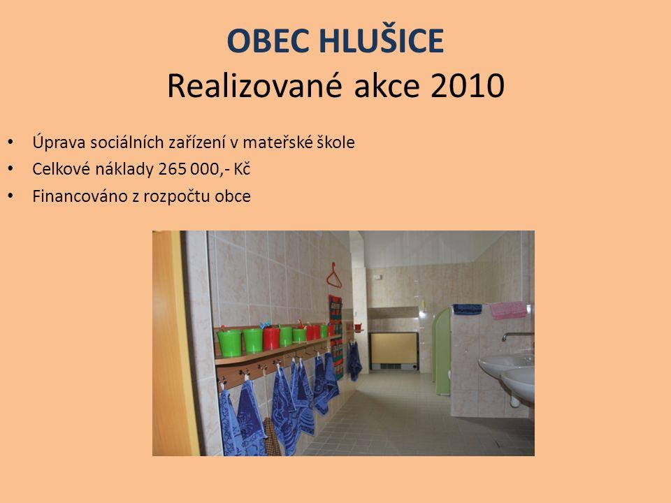 OBEC HLUŠICE Realizované akce 2010 Úprava sociálních zařízení v mateřské škole Celkové náklady 265 000,- Kč Financováno z rozpočtu obce