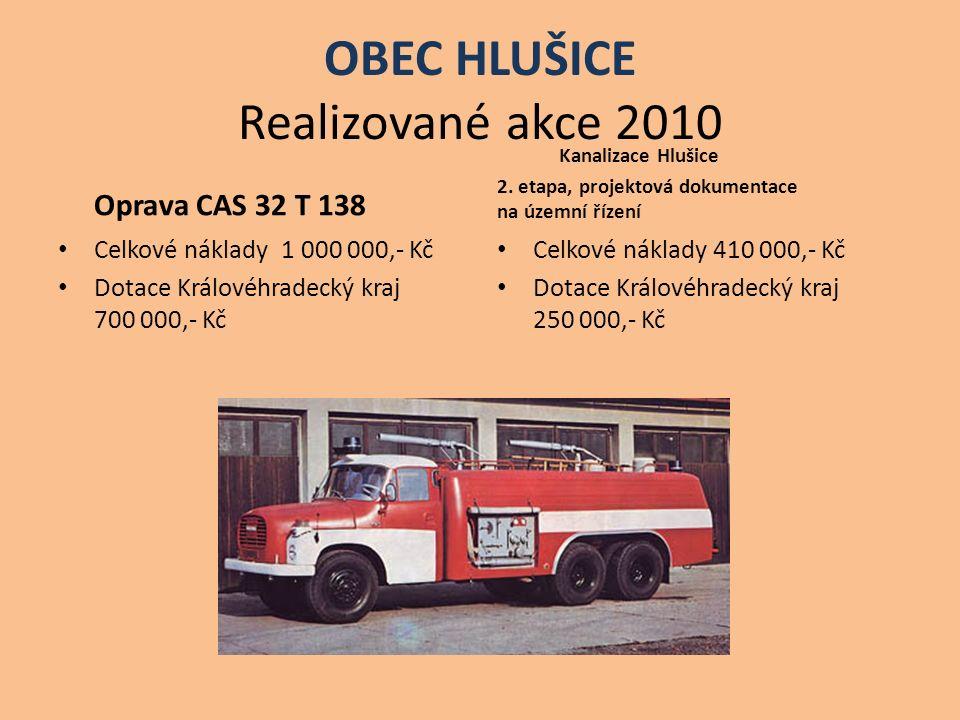 OBEC HLUŠICE Realizované akce 2010 Oprava CAS 32 T 138 Celkové náklady 1 000 000,- Kč Dotace Královéhradecký kraj 700 000,- Kč Kanalizace Hlušice 2.