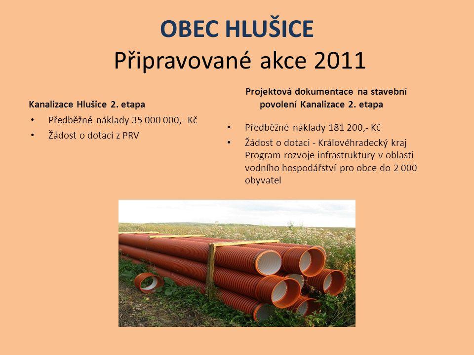 OBEC HLUŠICE Připravované akce 2011 Kanalizace Hlušice 2. etapa Předběžné náklady 35 000 000,- Kč Žádost o dotaci z PRV Projektová dokumentace na stav