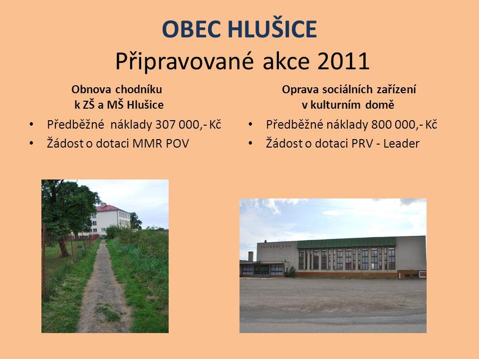 OBEC HLUŠICE Připravované akce 2011 Obnova chodníku k ZŠ a MŠ Hlušice Předběžné náklady 307 000,- Kč Žádost o dotaci MMR POV Oprava sociálních zařízen