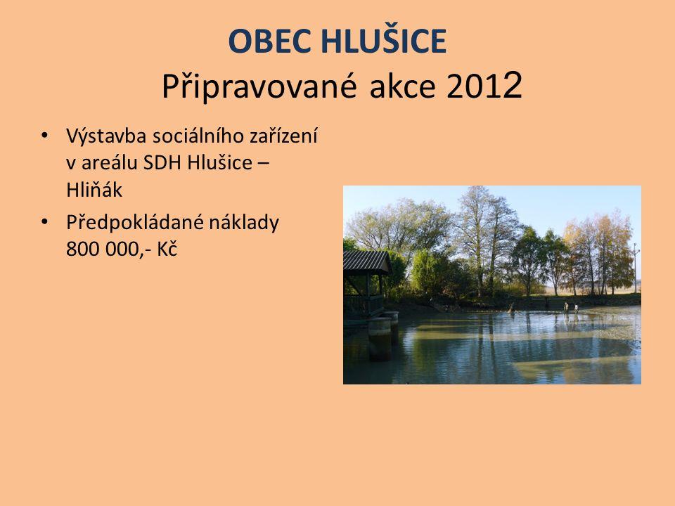 OBEC HLUŠICE Připravované akce 201 2 Výstavba sociálního zařízení v areálu SDH Hlušice – Hliňák Předpokládané náklady 800 000,- Kč