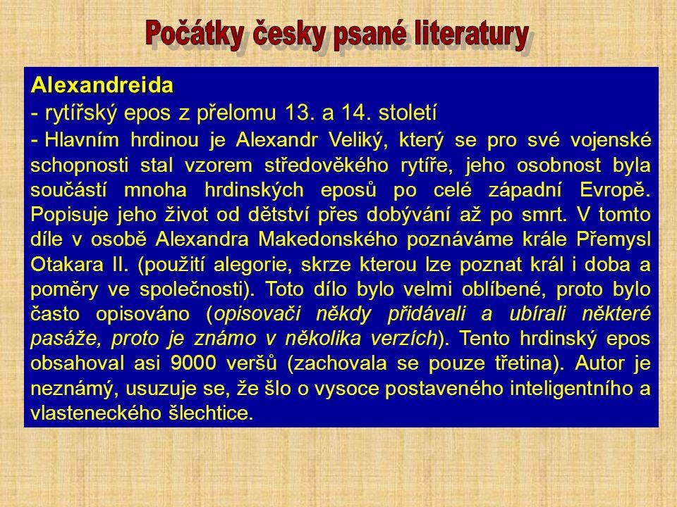 Alexandreida - rytířský epos z přelomu 13. a 14.