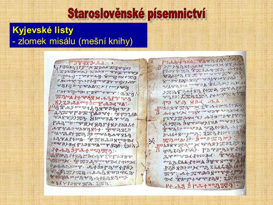 Kyjevské listy - zlomek misálu (mešní knihy)