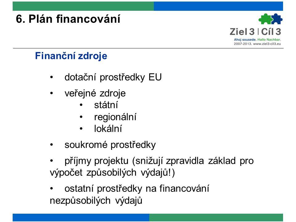 6. Plán financování Finanční zdroje dotační prostředky EU veřejné zdroje státní regionální lokální soukromé prostředky příjmy projektu (snižují zpravi