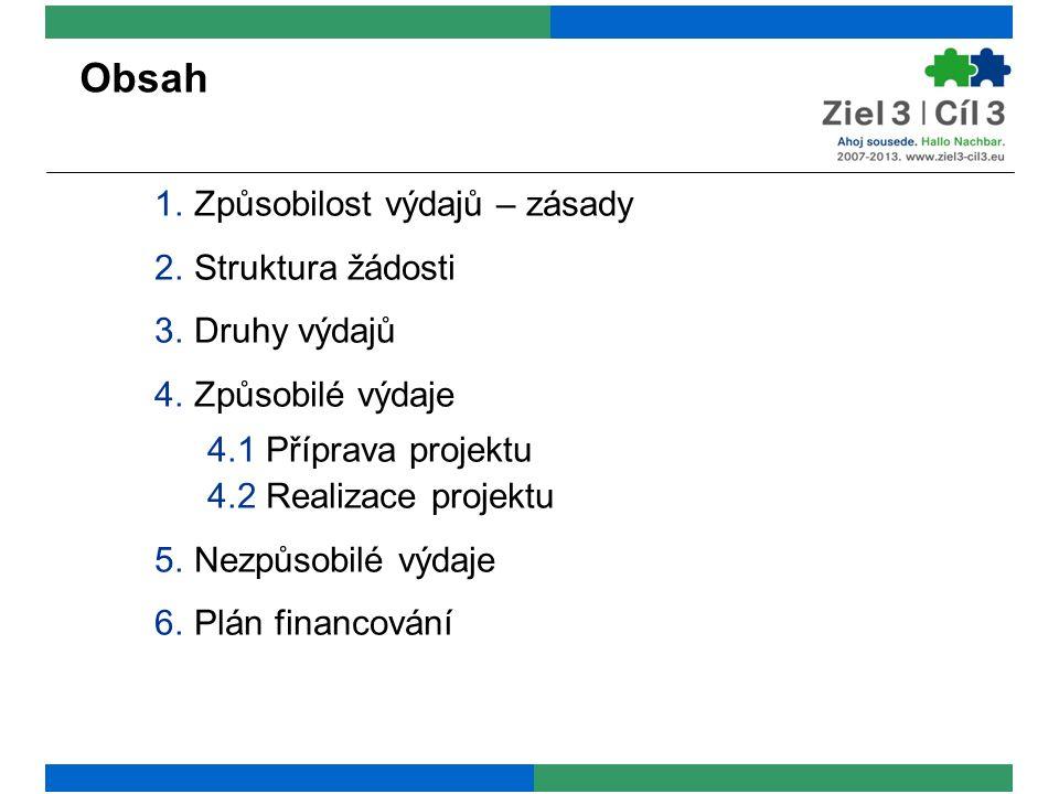 Obsah 1.Způsobilost výdajů – zásady 2.Struktura žádosti 3.Druhy výdajů 4.Způsobilé výdaje 4.1 Příprava projektu 4.2 Realizace projektu 5.Nezpůsobilé v