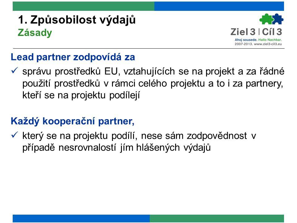 1. Způsobilost výdajů Zásady Lead partner zodpovídá za správu prostředků EU, vztahujících se na projekt a za řádné použití prostředků v rámci celého p