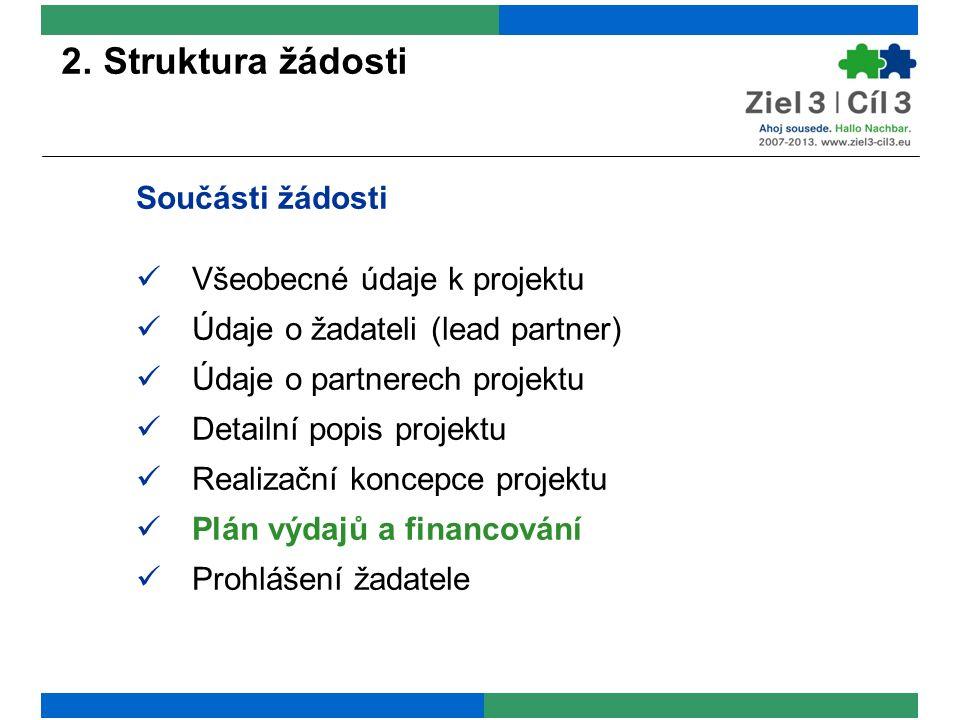 2. Struktura žádosti Součásti žádosti Všeobecné údaje k projektu Údaje o žadateli (lead partner) Údaje o partnerech projektu Detailní popis projektu R