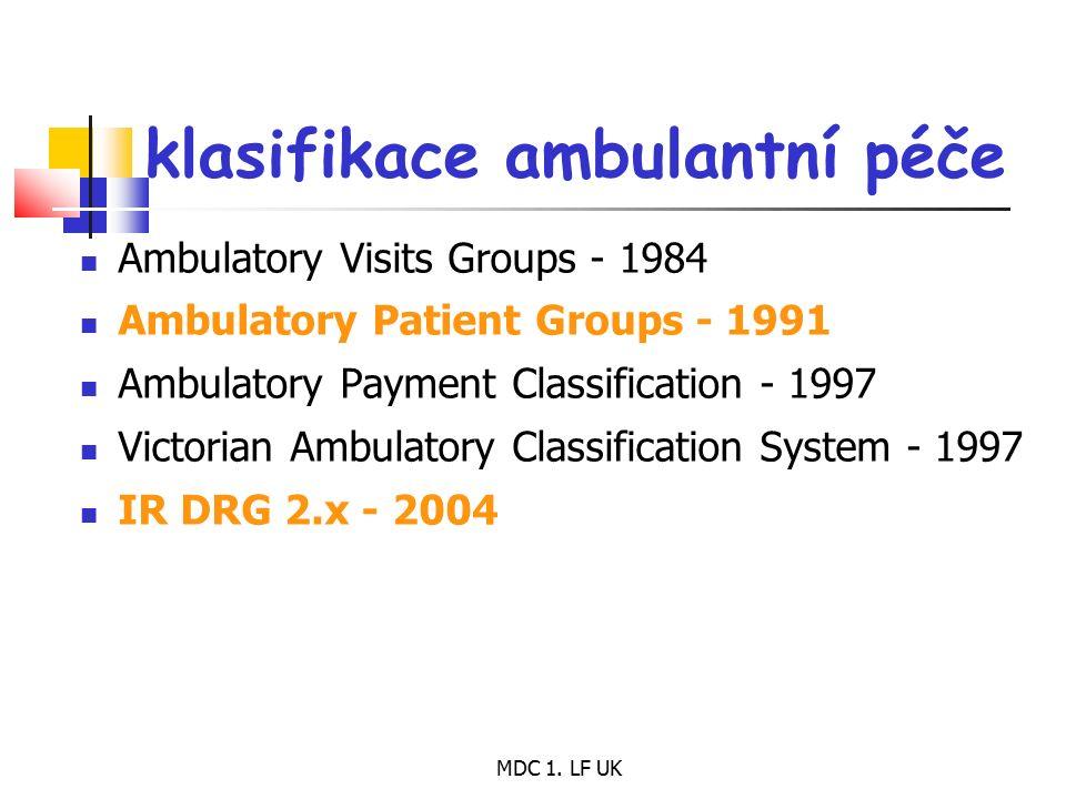 MDC 1. LF UK klasifikace ambulantní péče Ambulatory Visits Groups - 1984 Ambulatory Patient Groups - 1991 Ambulatory Payment Classification - 1997 Vic