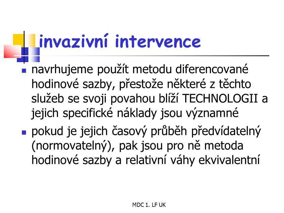 MDC 1. LF UK invazivní intervence navrhujeme použít metodu diferencované hodinové sazby, přestože některé z těchto služeb se svoji povahou blíží TECHN