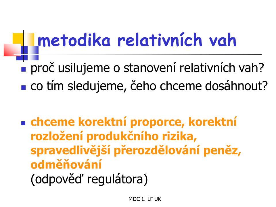 MDC 1. LF UK metodika relativních vah proč usilujeme o stanovení relativních vah? co tím sledujeme, čeho chceme dosáhnout? chceme korektní proporce, k