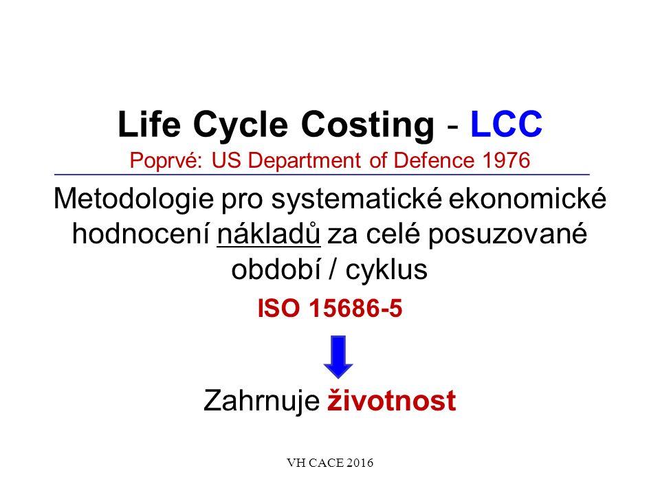 Life Cycle Costing - LCC Poprvé: US Department of Defence 1976 Metodologie pro systematické ekonomické hodnocení nákladů za celé posuzované období / cyklus ISO 15686-5 Zahrnuje životnost VH CACE 2016